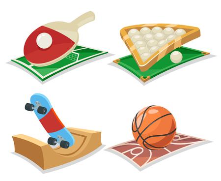 ricreazione: Cartoon sport e icone isolate impostare illustrazione vettoriale Vettoriali