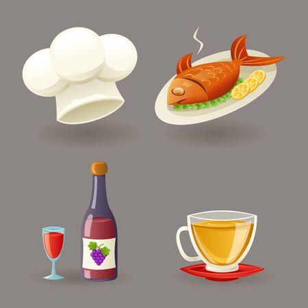 retro restaurant: Restaurant Icons Symbols Set Retro Cartoon Design Vector Illustration