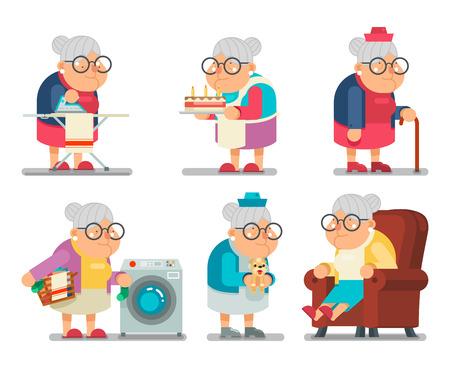 vejez feliz: Casa de abuela Old Lady Carácter de dibujos animados Plano ilustración vectorial
