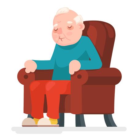 Old Man Character Sit Sleep Armchair Adult Icon Cartoon Vector Illustration