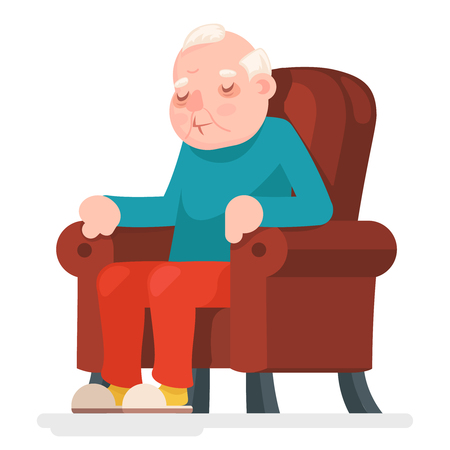 Old Man Character Sit Sleep Armchair Adult Icon Cartoon Vector Illustration