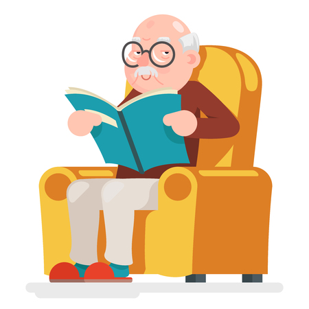 Reading Old Man Character Sit Adult Icon Cartoon Vector Illustration