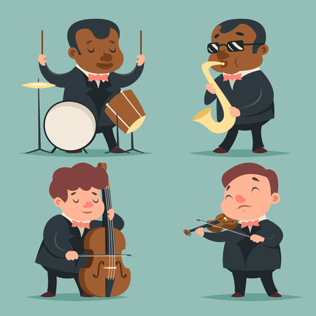 music player: Music Artist Player Concept Character Icons Set Cartoon Template Vector Illustration Illustration