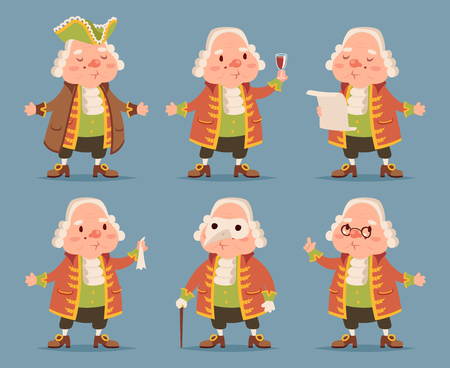 aristocrat: Noble medieval aristocrat mascot icons set cartoon vector illustration