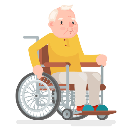 mature adult: Wheelchair Old Man Character Sit Adult Icon Cartoon Vector Illustration Illustration