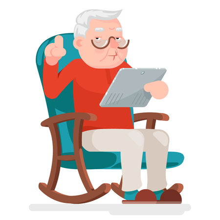Web Surfing Online Shopping Old Man Character Sit Adult Icon Design Vector Illustration