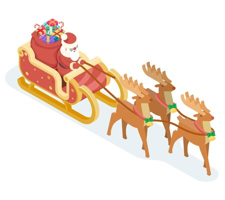Isometric Santa Claus Grandfather Frost Sleigh Reindeer Gifts Bag New Year Christmas Flat Design Icon Template Vector Illustration Illustration