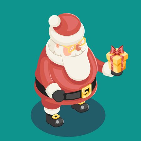 'grandfather frost': Cute Isometric Christmas Santa Claus Grandfather Frost Gift Box New Year Cartoon Flat Design Icon Template Vector Illustration