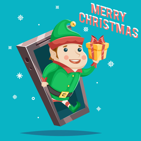greating card: Elf Giftbox Christmas New Year Greating Gift Card Mobile Phone Cartoon Design Vector Illustration