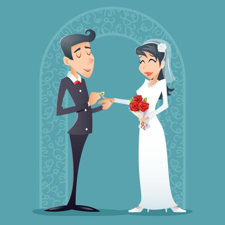 matrimonio feliz: Novio de la novia feliz sonriente de la vendimia Ilustración símbolo masculino femenino del icono de dibujos animados retro del vector del diseño