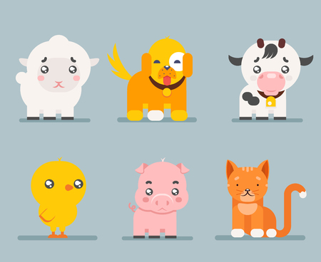 Cute farm animals cartoon flat icons set character vector illustration
