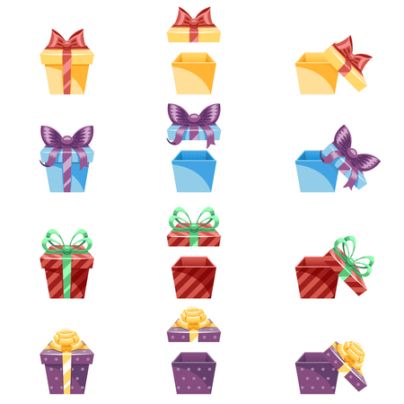 Gift Box New Year and Cartoon Flat Design Icon Set Template Vector Illustration Ilustracja