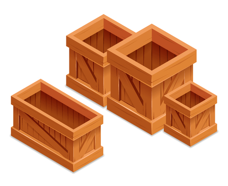 storage box: wooden box isometric realistic vector illustration storage isolated container Illustration