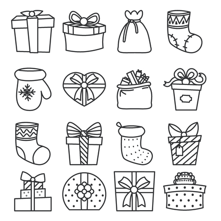 donative: gifts boxes bags socks lineart cartoon design vector illustration