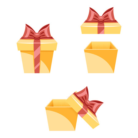 new icon: Gift Box New Year and Cartoon Flat Design Icon Set Template Vector Illustration Illustration