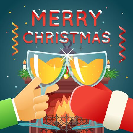 clink: Christmas with Santa Claus Celebration Success and Prosperity Symbol Hands Holds a Glasses with Drink Icon Stylish Fireplace Background Flat Design Vector Illustration