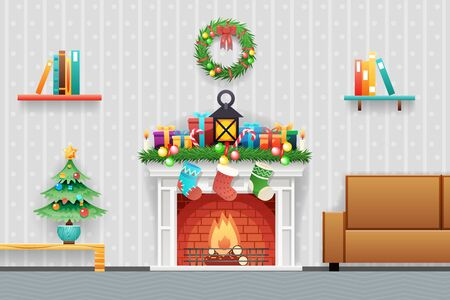Christmas New Year House Interior Living Room Furniture Icons Set Flat Vector Illustration