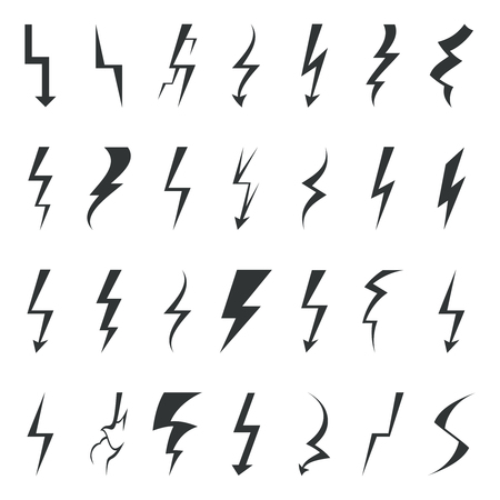 lightning arrow: Thunder lightning bolt pictogram icons set elements vector illustration
