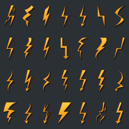 bolt: Thunder lightning bolt pictogram icons set elements vector illustration