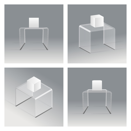 Glass rack podium shelf set isometric realistic design vector illustration