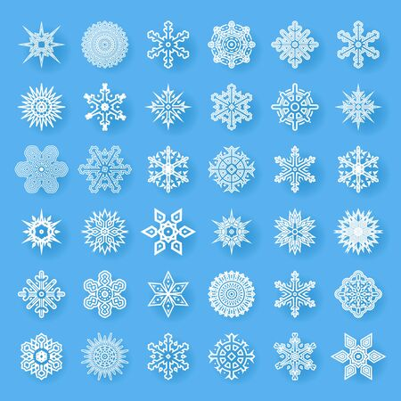 cristmas: Snowflakes geometric abstract geometry Cristmas New Year Icons Greeting Card Elements Template Vector Illustration