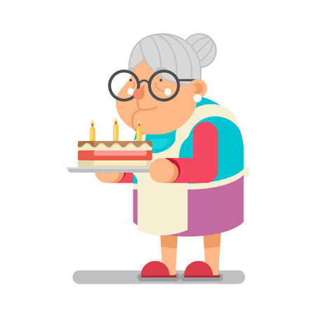Bake complimentary cake Household Granny Old Lady Character Cartoon Flat Vector illustration