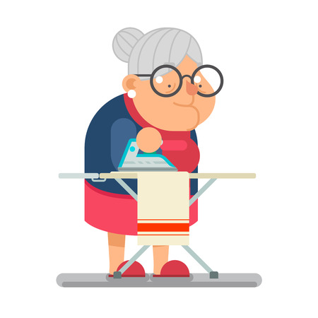 hock: Iron clothes Household Granny Old Lady Character Cartoon Flat Vector illustration