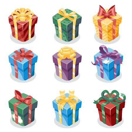 Caja de regalo de Año Nuevo Ilustración de dibujos animados plana Diseño Icon Set plantilla de vectores