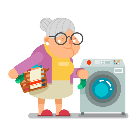 Wash dirty laundry in washing machine Household Granny Old Lady Character Cartoon Flat Vector illustration
