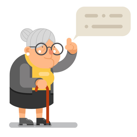Wise Teacher Guidance Granny Old Lady Character Cartoon Flat Vector illustration Çizim