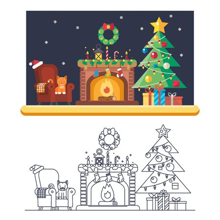 cristmas: Cristmas Room New Year Santa Claus Icons Greeting Card Elements Flat Lineart Template Vector Illustration