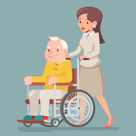 Attendant Nurse Caring for Elderly Wheelchair Old Man Character Sit Adult Icon Design Vector Illustration Illustration