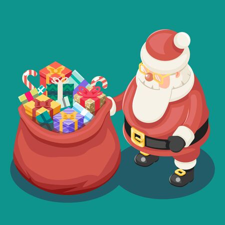 grandfather frost: Gifts Bag Cute Isometric Christmas Santa Claus Grandfather Frost Box New Year Cartoon Flat Design Icon Template Vector Illustration
