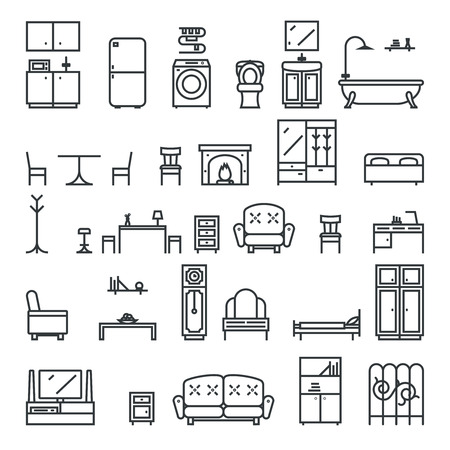 dvd room: Lineart Flat Furniture Icons Symbols Set Living Room Isolated Vector Illustration