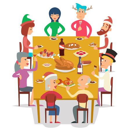 Christmas Group Friends Family Eat Meal Characters Celebration Meating New Year Party Design Vector illustration Illustration