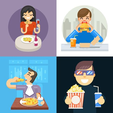 Eat food italian asta pizza spaghetti noodles popcorn hamburger dinner wine soda vine icon concept Isolated flat design vector illustration