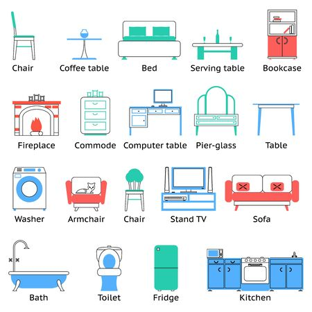 speakers desk: Flat Furniture Icons Symbols Set for Living Room Isolated Vector Illustration