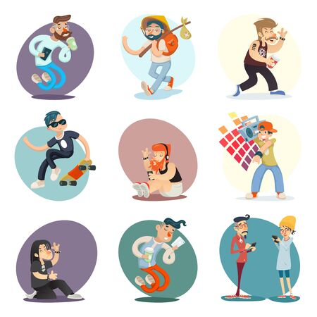 goth: Cartoon Casual People Hipster Geek Goth Phone Coffie Characters Icon Set Design Retro Vector Illustration