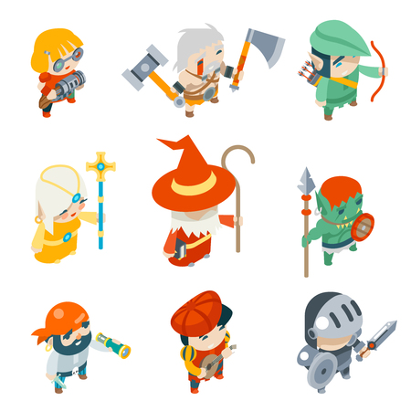 rpg: Fantasy RPG Game Characters Isometric Vector Icons Set Vector Illustration Illustration