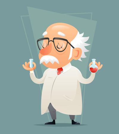 reagent: Old Scientist Test-tube Icon Retro Cartoon Design Mobile game Vector Illustration