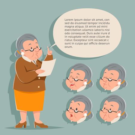 thoughtfulness: Teacher Emotion Old Female Granny Character Adult Constructor Set Isolated Retro Cartoon Vintage Art Design Vector Illustration Illustration