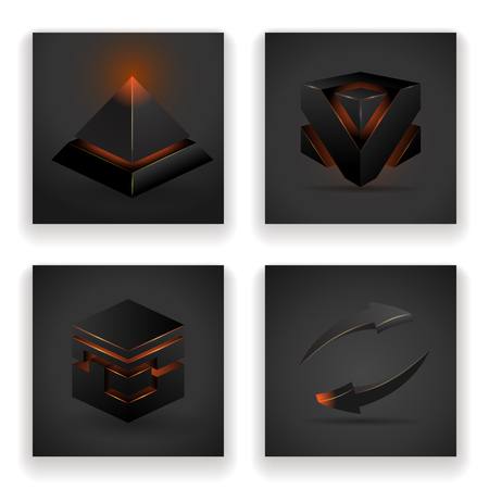 Abstract geometric glowing figures square and pyramid arrow design set vector illustration Illustration