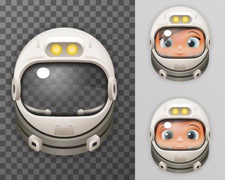 Cosmonaut Helmet Realistic Astronaut Spaceman Boy Girl Tantamareska Poster Transperent Glass Background Icon Template Mock Up Design Vector Illustration Vektorové ilustrace