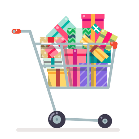 troley: Shopping cart purchase and gift flat design character vector illustration