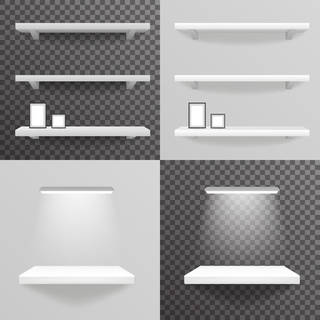 museum: White shelf hanging a wall with light photo frame gray and transparent background 3d realistic design vector illustration