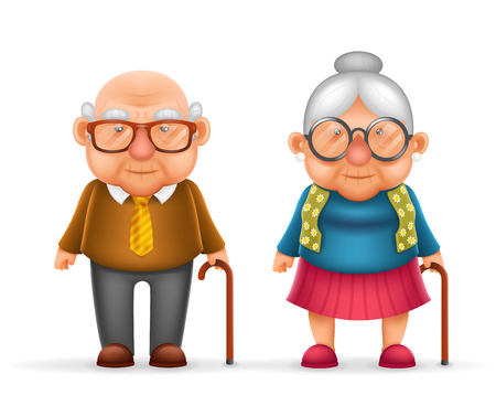 happy mature couple: Happy Cute Old Man Lady Grandfather Granny Realistic Cartoon Family Character Design Isolated Vector Illustration