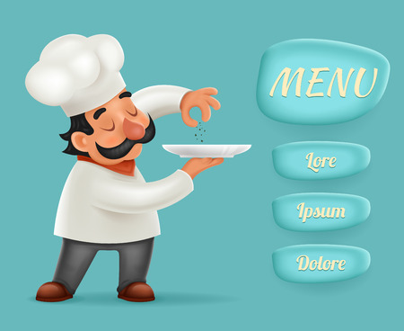 Menu Buttons Interface Chef Cook Serving Food Realistic Cartoon Character Design Isolated Vector Illustrator