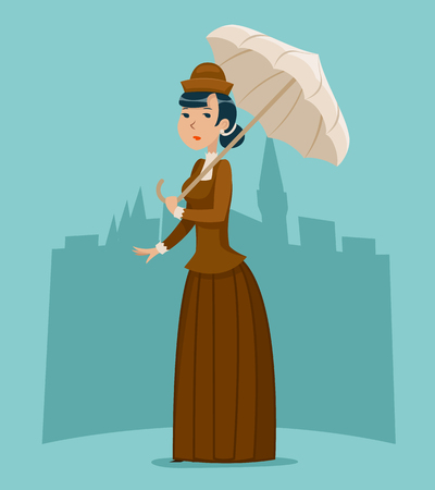 Wealthy Cartoon Victorian Lady Businesswoman Character Icon Stylish English City Background Retro Vintage Great Britain Design Vector Illustration