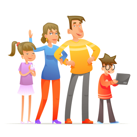 Family characters set cartoon design vector illustration Illustration