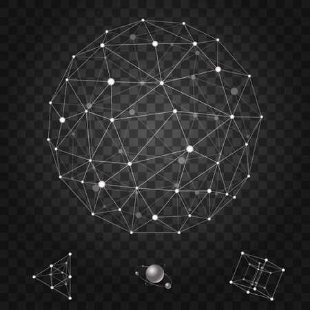 Abstract polygonal wireframe icons set vector illustration 向量圖像